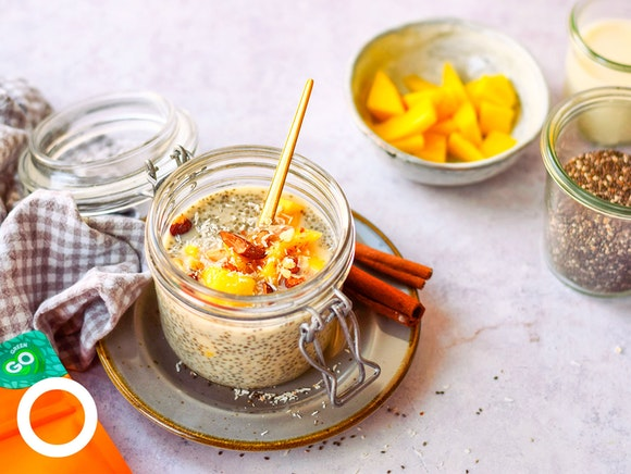 Kokos chiapudding met verse mango en collageen